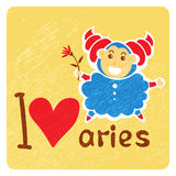 Zodiac signs-09. Zodiac signs Aries with heart isolated on grunge background. Cartoon funny characters. Design elements for greeting cards or flyers stock illustration