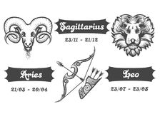 Zodiac signs of Aries Sagittarius and Leo. Set of Fire Zodiac signs. Aries Sagittarius and Leo drawn in engraving style. Vector illustration Stock Photos