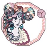 Zodiac signs Aries. Vector illustration of the girl Stock Photo