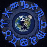 Zodiac signs around the planet earth and moon 2 Royalty Free Stock Photography