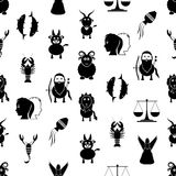 Zodiac signs for astrology set of cartoon animals icons seamless pattern eps10. Zodiac signs for astrology set of cartoon animals icons seamless pattern Royalty Free Stock Photo