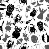 Zodiac signs for astrology set of cartoon animals icons seamless pattern eps10. Zodiac signs for astrology set of cartoon animals icons seamless pattern Stock Photos