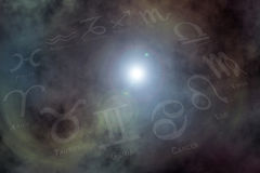 Zodiac signs background. Stars and Zodiac signs on the Nebula like background Royalty Free Stock Images