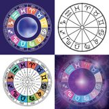 Zodiac signs background. Astrological round calendar collection, stock illustration