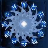 Zodiac signs on background with fantasy. Illustration representing the symbols of the 12 zodiac signs on a blue and white background royalty free illustration