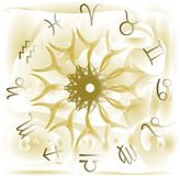 Zodiac signs on background with fantasy Stock Images