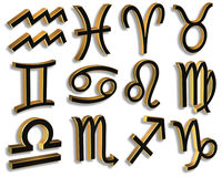 Zodiac Signs black and gold 3D. 3D illustration Zodiac Symbols in Gold and Black for clip art signs for astrology  theme Royalty Free Stock Photography