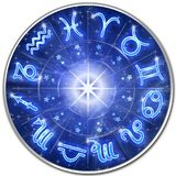 Zodiac Signs Blue Galaxy Circle Stock Photos
