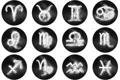 Zodiac signs buttons. Set of horoscope symbols, astrology icons Royalty Free Stock Photo