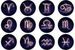 Zodiac signs buttons. Set of horoscope symbols, astrology icons Stock Photography