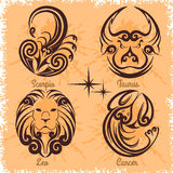 Zodiac signs - Cancer, Leo, Taurus, Scorpio Royalty Free Stock Image