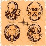 Zodiac signs - Cancer, Leo, Taurus, Scorpio Royalty Free Stock Image