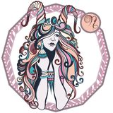Zodiac signs Capricorn. Vector illustration of the girl Stock Photography