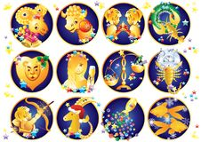 Zodiac signs. Christmas. Twelve Signs of the Zodiac with Christmas Ornaments vector illustration