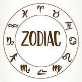 Zodiac signs circle Stock Photo