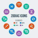 Zodiac signs. In circle in flat style. Set of colorful round icons. Vector illustration Stock Image