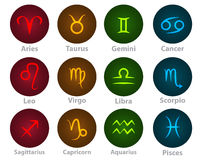 Zodiac signs circle neon ball icon Stock Images