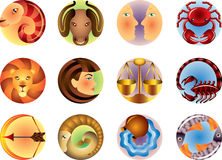 Zodiac signs circled. Set Stock Photos