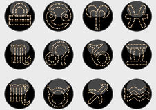 Zodiac signs circles black Royalty Free Stock Photo