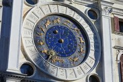 Zodiac signs clock, mystery in a sunny day in Italy. Zodiac signs clock, mystery in a sunny day in Venice, Italy royalty free stock image
