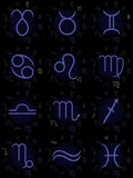 Zodiac signs collection. Collection of the 12 signs of Zodiac stock illustration