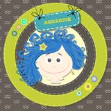 Zodiac signs collection.Cute horoscope - aquarius. Stock Photo