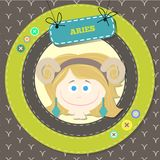 Zodiac signs collection. Cute horoscope - ARIES. Vector illustration. SET Royalty Free Stock Image