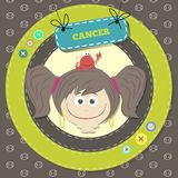 Zodiac signs collection. Cute horoscope - CANCER. Stock Photography