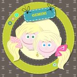 Zodiac signs collection. Cute horoscope - GEMINI. Royalty Free Stock Images