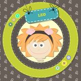Zodiac signs collection. Cute horoscope - LEO. Royalty Free Stock Images