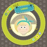 Zodiac signs collection. Cute horoscope - LIBRA. Royalty Free Stock Photo