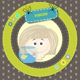 Zodiac signs collection.Cute horoscope - PISCES. Stock Photography