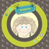 Zodiac signs collection. Cute horoscope - SCORPIO. Royalty Free Stock Photo