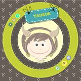 Zodiac signs collection. Cute horoscope - TAURUS. Royalty Free Stock Images