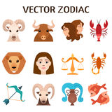 Zodiac signs colorful silhouettes horoscope astrology set vector illustration. Royalty Free Stock Image