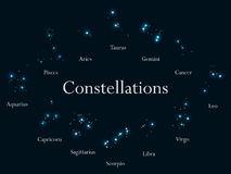Zodiac signs. Constellations of the zodiac signs, horoscope. Star Cluster. Vector. Illustrations royalty free illustration