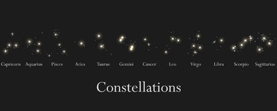 Zodiac signs. Constellations of the zodiac signs, horoscope. Star Cluster. Vector Royalty Free Stock Photos