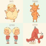 Zodiac signs, cute cartoon characters Stock Images