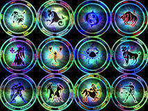 Zodiac signs. Different zodiac signs in different colors Stock Image