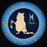 Zodiac signs. Fish. Cartoon. Sad cat with a skeleton of fish Royalty Free Stock Photo