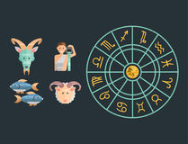 Zodiac signs flat set of horoscope symbols star collection astrology ascendant figure nativity vector astrological Stock Image