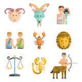 Zodiac signs flat set of horoscope symbols star collection astrology ascendant figure nativity vector astrological. Calendar illustration. Esoteric Royalty Free Stock Photography