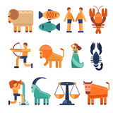 Zodiac signs in flat style and astrological icons or horoscope symbols. Zodiac signs in flat style. Astrological icons cancer and libra, aquarius and taurus Royalty Free Stock Photos