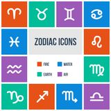 Zodiac signs. In flat style. Set of colorful square icons.  Vector illustration Royalty Free Stock Photos