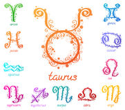 Zodiac signs with floral pattern. Many-colored zodiac signs isolated on a white background Royalty Free Stock Photo