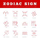 Zodiac Signs in form of lines, dots connected. Signs of the Zodiac in the form of lines, dots connected. Vector illustration Royalty Free Stock Photo