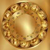 Zodiac signs on gears Royalty Free Stock Photo