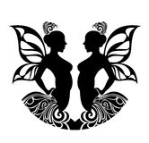 Zodiac signs - Gemini. Tattoo design. Royalty Free Stock Images