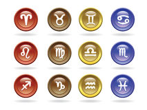 Zodiac signs Glossy icons Stock Image