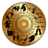 Zodiac signs on a gold disk Royalty Free Stock Photos